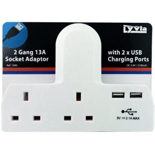 2 Gang 13a Socket Adaptor with 2 USB Charging Ports. DC 5.0v / 2100ma